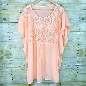 Coverup Dress Coral Peach Crochet Lace Bust Large